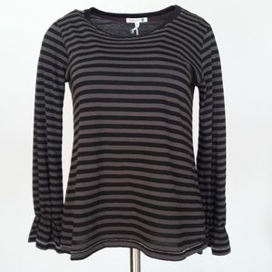 Sundry Black & Grey Stripe Long Sleeve Top